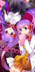 2girls bb_(fate/extra_ccc) book breasts fate/extra fate/extra_ccc fate_(series) gloves hair_ribbon large_breasts long_hair matou_sakura multiple_girls orbe purple_hair ribbon switch title_drop very_long_hair violet_eyes