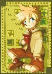1boy blonde_hair blue_eyes blush itaru jacket kagamine_len male mouth_hold pocky sitting solo vocaloid young