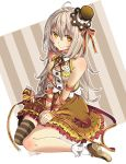 1girl bare_shoulders blush grey_hair hair_ornament hat highres long_hair milk milk_carton okutani_toro original sitting skirt smile solo yellow_eyes