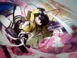1boy black_hair cable cape dual_wielding highres rivaille shingeki_no_kyojin solo sword terubouya thigh_strap weapon wire