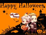 axis_powers_hetalia bird blonde_hair blush chick germany_(hetalia) green_eyes halloween happy_halloween jack-o'-lantern open_mouth prussia_(hetalia) red_eyes short_hair star title_drop tobi_(one) trick_or_treat