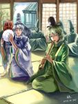 2girls 3boys blush closed_eyes dress drum flute green_dress green_eyes green_hair grey_hair hat highres instrument japanese_clothes kariginu lips lleu long_hair mononobe_no_futo multiple_boys multiple_girls playing ponytail ribbon shakuhachi short_hair silver_hair sitting smile soga_no_tojiko tate_eboshi touhou