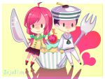 1boy 1girl black_eyes black_hair cake cherry chibi cupcake dixie_cup_hat food fork fruit green_eyes higashikata_jousuke_(jojolion) highres jojo_no_kimyou_na_bouken jojolion kanoko27 knife pink_hair