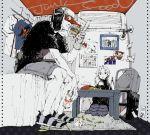 1boy 1girl air_conditioner asasui bed book broken calendar_(object) dorohedoro drink eating ebisu_(dorohedoro) electric_socket en food french_fries fujita_(dorohedoro) hamburger hat kikurage_(dorohedoro) looking_at_viewer mask monochrome noi_(dorohedoro) open_mouth photo_(object) pointy_shoes room rug shin_(dorohedoro) short_hair shorts single_glove sitting spot_color t-shirt tape television