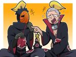 3boys alternate_hair_color alternate_hairstyle black_hair blonde_hair blush_stickers deidara gloves headband hidan jewelry laughing mackerel_(artist) multiple_boys naruto necklace open_mouth silver_hair tobi violet_eyes