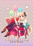 1girl balloon black_legwear blonde_hair breasts couch dress mitha original pillow polka_dot polka_dot_background red_eyes shoes sitting tagme thigh-highs