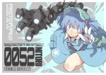 1girl bag blue_eyes blue_hair gloves hair_bobbles hair_ornament hat kawahara_fantasia kawashiro_nitori leg_up mechanical_arm pocket satchel skirt solo star touhou twintails