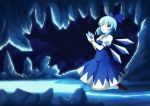1girl blue_eyes blue_hair bow cirno hair_bow julius_yu short_hair solo touhou wings