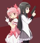 2girls akemi_homura black_hair blue_eyes finger_gun gloves gun hair_ribbon hairband kaname_madoka long_hair mahou_shoujo_madoka_magica midori_(rquick2009) multiple_girls open_mouth pink_eyes pink_hair pistol ribbon short_hair skirt smile weapon