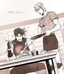 2boys apron caesar_anthonio_zeppeli cooking droolilng facial_mark fingerless_gloves frying_pan gloves headband jojo_no_kimyou_na_bouken joseph_joestar_(young) knee_pads kuren monochrome multiple_boys spaghetti sparkle