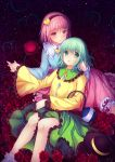 2girls bandages blush eyeball field flower flower_field green_eyes green_hair hairband hat hat_removed hat_ribbon headwear_removed heart komeiji_koishi komeiji_satori multiple_girls open_mouth philomelalilium pink_eyes pink_hair ribbon rose short_hair siblings sisters skirt smile solo third_eye touhou vines wide_sleeves