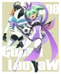 2boys ball boots fei_rune gloves green_eyes green_hair hair_ornament hato_niku inazuma_eleven_(series) inazuma_eleven_go inazuma_eleven_go_chrono_stone keshin_armed kokuu_no_megami_athena_(armed) looking_back majo_queen_redia_w_(armed) male multiple_boys open_mouth shuu_(inazuma_eleven) soccer_ball