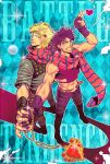 2boys argyle argyle_background blonde_hair blue_eyes bubble caesar_anthonio_zeppeli facial_mark fingerless_gloves gloves green_eyes grin headband iduki-daku jewelry jojo_no_kimyou_na_bouken joseph_joestar_(young) midriff multiple_boys necklace purple_hair red_stone_of_aja scarf smile