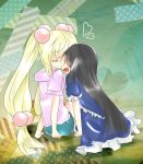 2girls arm_support artist_request black_hair blonde_hair closed_eyes dress face-to-face hair_bobbles hair_ornament heart highres hoodie kagami_kuro kodomo_no_jikan kokonoe_rin long_hair multiple_girls open_mouth sitting smile twintails yuri