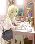blonde_hair blue_eyes blush book chair clock eraser jewelry long_hair necklace original skirt snow_globe stuffed_toy table watch yoropa