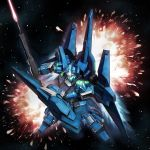 beam_rifle energy_sword explosion glowing gun gundam gundam_unicorn highres mecha no_humans rezel shield solo space sword weapon yoshinobuta