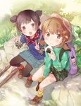 2girls backpack bag blush brown_eyes brown_hair eating fly_333 food happy hat jacket multiple_girls onigiri open_mouth original short_twintails shorts sitting skirt smile twintails v