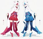 1boy 1girl ahoge blue_hair boots brother_and_sister choker highres looking_at_viewer merlusa multicolored_hair open_mouth personification pokemon red_eyes redhead ribbon shadow short_twintails siblings smile standing thigh-highs translated twins twintails two-tone_hair white_hair yellow_eyes zettai_ryouiki