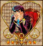 1boy anchor blue_eyes gakuran hands_on_own_face heart higashikata_jousuke iduki-daku jojo_no_kimyou_na_bouken peace_symbol pompadour purple_hair school_uniform solo title_drop