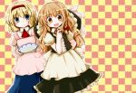 2girls alice_margatroid apron ascot blonde_hair blue_eyes blush_stickers bow braid checkered checkered_background chopsticks dress futami_yayoi hair_bow hand_on_hip hat hat_removed hat_ribbon headband headwear_removed juliet_sleeves kirisame_marisa leaning long_hair long_sleeves looking_at_viewer multiple_girls open_mouth plate polka_dot_apron puffy_sleeves ribbon short_hair short_sleeves single_braid skirt smile touhou vest waist_apron witch_hat yellow_eyes