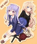 2girls barefoot blonde_hair blue_eyes blush breasts chair formal long_hair multiple_girls office_lady open_mouth original pen purple_hair sitting skirt skirt_suit suit tokunou_shoutarou twintails violet_eyes