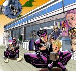 arnold_(jojo) fourth_wall gakuran ghost higashikata_jousuke higashikata_jousuke_(jojolion) highres hirose_kouichi hirose_yasuho jojo_no_kimyou_na_bouken jojolion joseph_joestar kishibe_rohan kuujou_joutarou nijimura_okuyasu pompadour poster school_uniform seris-valentine sheer_heart_attack shizuka_joestar stand_(jojo) sugimoto_reimi video_game wallet yangu_shigekiyo