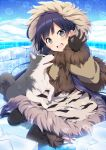 1girl blue_hair blush brown_eyes clouds coat fur_trim igloo long_hair ok_sign parka sama sitting sky smile snow snowflakes solo wariza wolf