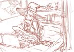 1girl akko_kagari computer hat laptop little_witch_academia monochrome on_bed pan!ies sitting sketch solo witch witch_hat