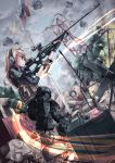 1girl acog aiming battlefield_(series) battlefield_3 blonde_hair blood bolt_action boots bullet_hole debris explosive fingerless_gloves flag gloves grenade gun headset knee_pads load_bearing_vest long_hair military military_uniform rifle russian_flag scarf smoke sniper_rifle sniping solo sv-98 uniform weapon yellow_eyes yoshinaga_p