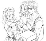 1boy 2girls bag child family father_and_daughter jojo_no_kimyou_na_bouken joseph_joestar_(young) kuren kuujou_holly monochrome multiple_girls sailor_collar shopping_bag shorts suzi_quatro young