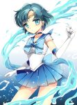 1girl bishoujo_senshi_sailor_moon blue blue_dress blue_eyes blue_hair bow brooch choker dress earrings elbow_gloves gloves hydrokinesis jewelry magical_girl mizuno_ami ribbon sailor_collar sailor_mercury short_hair skirt solo super_sailor_mercury tiara vanilla_(shade) water white_gloves