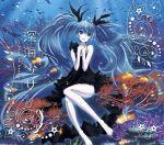 1girl ahoge blue_eyes blue_hair bubble dress fish hatsune_miku highres long_hair shinkai_shoujo_(vocaloid) solo title_drop twintails underwater very_long_hair vocaloid yonasawa