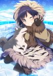 1girl blue_hair blush brown_eyes clouds coat fur_trim grin igloo long_hair ok_sign original parka sama sitting sky smile snow snowflakes solo wariza wink wolf