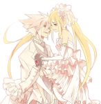 alternate_costume bare_shoulders blazblue blonde_hair carrying dress flower formal frills gloves hair_flower hair_ornament holding_hands long_hair male rachel_alucard ragna_the_bloodedge red_eyes ryolove silver_hair smile suit thigh-highs tuxedo twintails veil wedding wedding_dress white_suit
