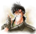1boy bean_bandit black_hair closed_eyes fingerless_gloves gloves grin headband leather_jacket lowres riding_bean sadahara_ajiko scar short_hair smile solo