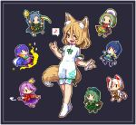 6+girls animal_ear_fluff animal_ears barefoot blonde_hair blue_dress blue_hair blue_headwear cape cat_ears cat_tail chibi chibi_inset chinkyuu_koudai commentary_request dress eighth_note fox_ears fox_shadow_puppet fox_tail geta gold goutokuji_mike green_dress green_eyes green_hair green_headwear hair_between_eyes hairband hat himemushi_momoyo holding holding_pipe holding_shovel holding_test_tube iizunamaru_megumu jumpsuit key koban_(gold) komakusa_sannyo kudamaki_tsukasa kumamoto_(bbtonhk2) lowres multicolored_hair multiple_girls musical_note no_shoes open_mouth pickaxe pipe pixel_art purple_hair rainbow_gradient red_eyes shirt short_sleeves shovel simple_background smile smoke socks spoken_musical_note streaked_hair tail tamatsukuri_misumaru tengu-geta tenkyuu_chimata test_tube tokin_hat touhou unconnected_marketeers white_cape white_jumpsuit white_legwear white_shirt yamashiro_takane yellow_eyes