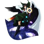 1girl arm_cannon bird_wings black_hair black_wings bow cape energy_ball galaxy hair_bow highres looking_at_viewer m134 red_eyes reiuji_utsuho shirt skirt smile solo space third_eye touhou weapon wings