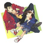 2boys arsene_lupin_iii black_hair blue_eyes brown_hair detective_conan edogawa_conan glasses lupin_iii male multiple_boys necktie short_hair toujou_sakana