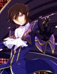 1boy black_hair chess_piece code_geass cravat fusuma_(not_found) gloves lelouch_lamperouge solo violet_eyes