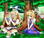 4girls :t alice_margatroid apron blonde_hair bow braid character_doll clenched_hand closed_eyes cup doll_on_head dress hair_bow hands_in_lap hat hat_removed hat_ribbon headband headwear_removed indian_style kirisame_marisa long_hair maid maid_headdress multiple_girls no_shoes open_mouth pantyhose peeking_out rakku_(10219563) red_eyes ribbon sash shanghai_doll shinki short_hair short_sleeves side_glance side_ponytail single_braid sitting skirt teacup touhou touhou_(pc-98) v_arms vest waist_apron wariza witch_hat yumeko