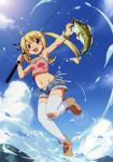 1girl :d absurdres blonde_hair brown_eyes fang fish fishing fishing_rod highres legs open_mouth short_shorts shorts smile spaghetti_strap tagme thigh-highs twintails watanabe_akio white_legwear