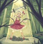 +_+ 1girl :d arm_up blonde_hair blush flandre_scarlet forest hat highres mary_janes master_sword nature open_mouth red_eyes shoes smile solo sword the_legend_of_zelda touhou weapon wings yunuki_uta