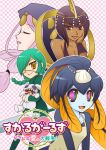 4girls aeon_(skullgirls) annie_(skullgirls) apron bangs bare_shoulders black_hair blue_eyes blue_hair blunt_bangs braid breasts checkered checkered_background cleavage closed_eyes dark_skin eliza_(skullgirls) eyepatch fish_girl green_hair grey_eyes halterneck hood lipstick long_hair makeup minette_(skullgirls) multicolored_eyes multiple_girls pink_eyes pink_hair sagan_(skullgirls) short_hair skullgirls smile stuffed_animal stuffed_bunny stuffed_toy suzukin sword twin_braids waitress weapon yellow_eyes