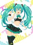 1girl bowtie green_eyes green_hair hatsune_miku highres long_hair muffasa open_mouth see-through skirt solo thigh-highs thigh_gap tubetop twintails very_long_hair vocaloid