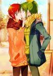 2girls couple face-to-face green_hair hand_in_pocket hino_akane midorikawa_nao multiple_girls precure redhead short_hair smile_precure! tima