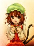1girl animal_ears blush canro098 cat_ears chen earrings fang hat heart multiple_tails smile solo tail touhou
