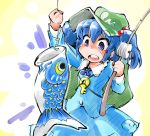 1girl arm_up backpack bag blue_eyes blue_hair carp fish fishing_hook fishing_line fishing_rod gradient gradient_background hair_bobbles hair_ornament hat highres kawashiro_nitori key open_mouth shinapuu short_hair skirt skirt_set solo touhou twintails