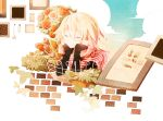 1girl blonde_hair brick closed_eyes fence flower head_rest ia_(vocaloid) long_hair painting picture_frame plant rose smile snowfall0617 tulip vocaloid