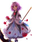 1girl ascot blood bow dress eiyuu_densetsu falcom flower frills purple_hair red_rose renne ribbon rokuka rose scythe short_hair smile socks solo sora_no_kiseki white_background yellow_eyes