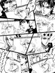 comic dekopin08 dio_brando drawing drawr giorno_giovanna higashikata_jousuke higashikata_jousuke_(jojolion) johnny_joestar jojo_no_kimyou_na_bouken joseph_joestar_(young) kuujou_jolyne kuujou_joutarou monochrome steel_ball_run translation_request